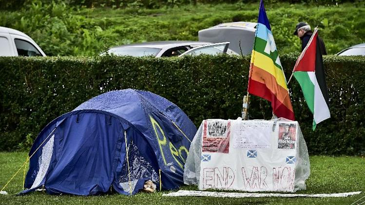 The beginnings of a protest peace camp inside Tredegar park, near to the location of the NATO summit in Newport, Wales, Monday Sept. 1, 2014. Wales will host a NOTO summit on Sept. 4 to 5, which is expected to include US President Obama, German Chancellor Merkel, and President Hollande of France, along with leaders and senior ministers from around 60 other countries. (AP Photo / Ben Birchall, PA) UNITED KINGDOM OUT - NO SALES - NO ARCHIVES