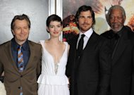 "(L-R) Actors Gary Oldman, Anne Hathaway, Christian Bale and Morgan Freeman attend ""The Dark Knight Rises"" New York Premiere on July 16. Warner Brothers said it was ""deeply saddened"" by Friday's massacre at a Colorado screening of its latest Batman movie, as it reportedly cancelled a red-carpet premiere in Paris"