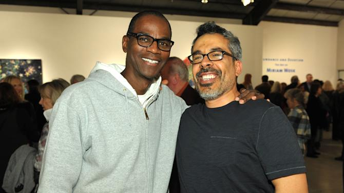 IMAGE DISTRIBUTED FOR SMMOA - Mark Bradford, left, and Salomon Huerta attend the Santa Monica Museum of Art Winter Exhibition Openings on Friday, Jan. 18, 2013 in Santa Monica, Calif. (Photo by John Shearer/Invision for SMMoA/AP Images)