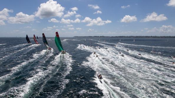 Groupama Sailing Team, skippered by Franck Cammas from France, chase the fleet, at the start of leg 9 of the Volvo Ocean Race from Lorient, France to Galway, Ireland on July 1, 2012 at Sea. (Photo by Ian Roman/Volvo Ocean Race via Getty Images)