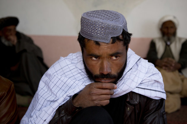 Afghan man Naimatullah looks on as he speaks about how he was picked up several months ago by U.S. Special Forces along with his brothers, fingerprinted and the isometrics on his eyes done before bein