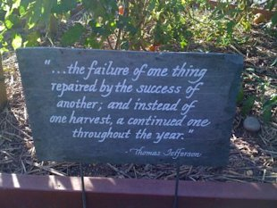 A slate marker with a quote from Thomas Jefferson decorates a bed planted with seeds he first grew at Monticello. (Photo: Lylah M. Alphonse/Yahoo! Shine)