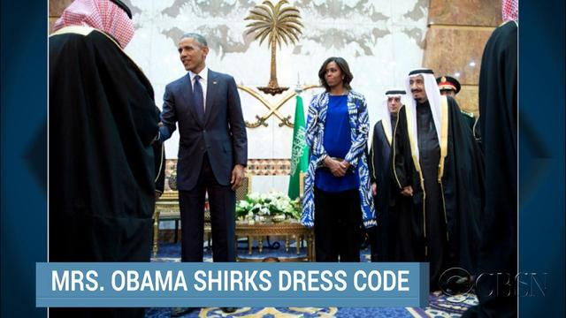 Did the First Lady defy Saudi Arabia's traditional dress code?