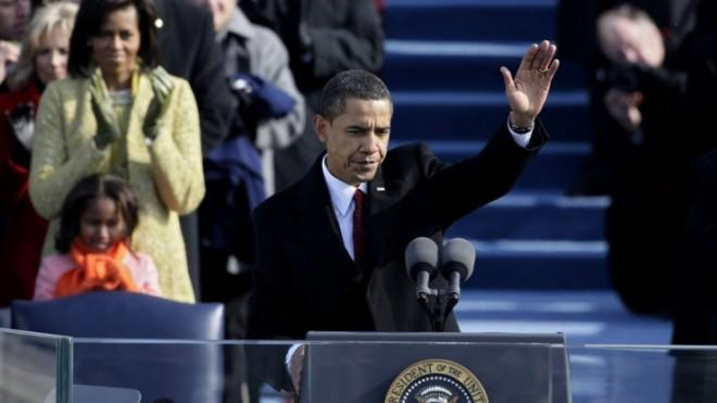President Obama waves after his inaugural address in 2009.