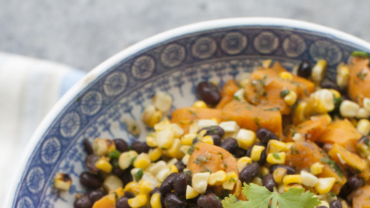 2014, photo shows sweet potato, grilled corn and black bean salad ...
