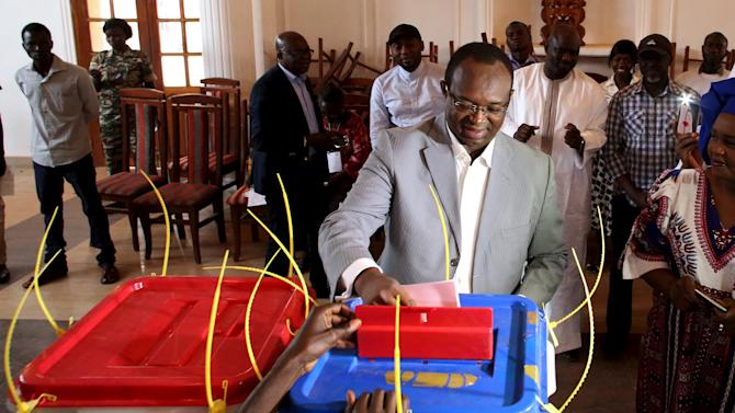 Presidential candidate Anicet-Georges Dologuele votes during the second round presidential and legislative elections in Bangui, Central African Republic
