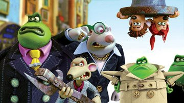 Toad (voiced by Ian McKellen ), Spike (voiced by Andy Serkis ), Whitey (voiced by Bill Nighy ) and Le Frog (voiced by Jean Reno ) are all on the lookout for Roddy (voiced by Hugh Jackman ) and Rita (v