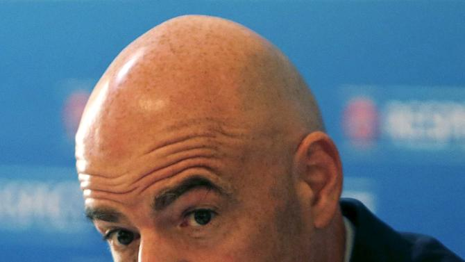 UEFA Secretary General Infantino gestures during a news conference after UEFA Executive Committee meeting in Prague