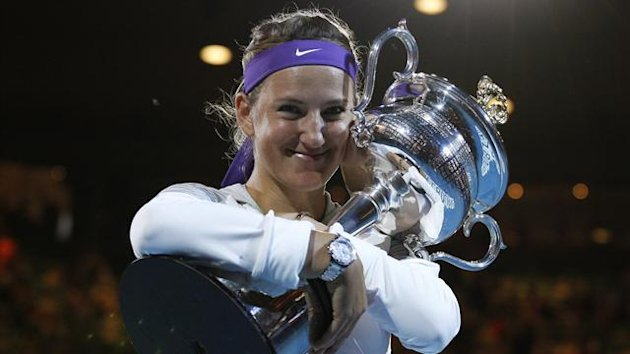 Victoria Azarenka celebrates her second Australian Open title (Reuters)