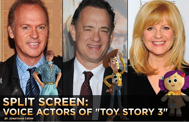 Split Screen Voice Actors of Toy Story 3 Title Card