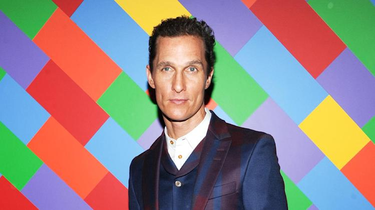 "FILE - This April 21, 2013 file photo shows actor Matthew McConaughey at the premiere of ""Mud"" hosted by The Cinema Society with FIJI Water & Levi's at the Museum of Modern Art  in New York.  McConaughey stars in the film with Reese Witherspoon. (Photo by Evan Agostini/Invision/AP, file)"