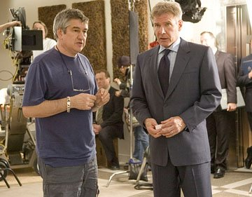 Director Richard Loncraine and Harrison Ford on the set of Warner Bros. Firewall