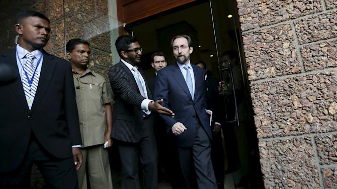 UN High Commissioner for Human Rights Zeid Ra'ad Al Hussein arrives to speak to the media before leaving his hotel to meet Sri Lankan politicians and diplomats in Colombo