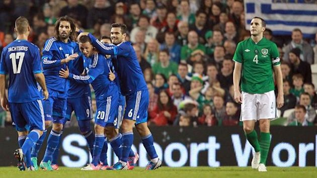 Greece players celebrate against the Republic of Ireland (AFP)