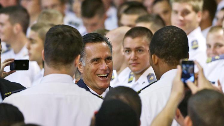 Republican presidential candidate, former Massachusetts Gov. Mitt Romney greets cadets after delivering a foreign policy speech at Virginia Military Institute (VMI) in Lexington, Va., Monday, Oct. 8, 2012. (AP Photo/Charles Dharapak)