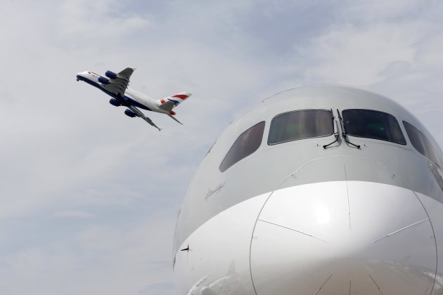 A British Airways Airbus A380, the world's largest jetliner, participates in a flying display during the 50th Paris Air Show at the Le Bourget airport near Paris