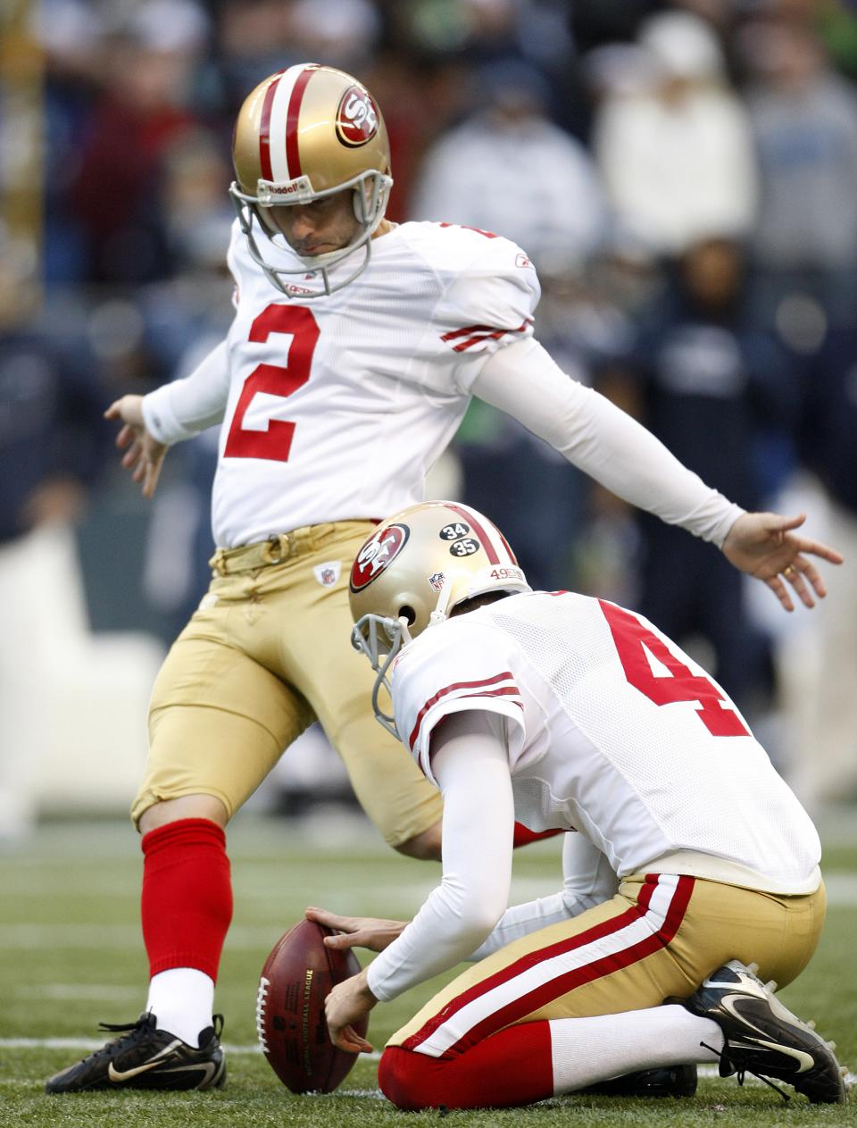 San Francisco 49ers'  David Akers kicks a field goal against the Seattle Seahawks in the second half of an NFL football game Saturday, Dec. 24, 2011, in Seattle. (AP Photo/Kevin Casey)
