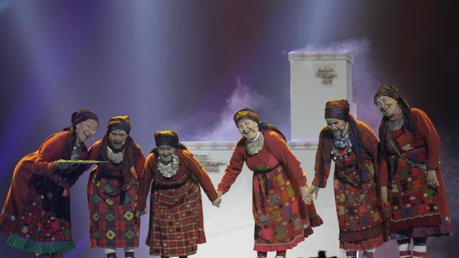 Russia entrant Buranovskiye Babushki perform during rehearsals for the 2012 Eurovision Song Contest at the Baku Crystal Hall in Baku, Azerbaijan, Monday, May 21, 2012. The final of the 2012 Eurovision Song Contest will be held at the stadium on May 26, 2012. (AP Photo/Sergey Ponomarev)