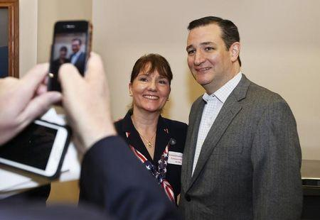 Senator Ted Cruz poses with State Rep. Catherine Cheney, of Dover, during the Strafford County Republican Committee Chili and  Chat in  Barrington