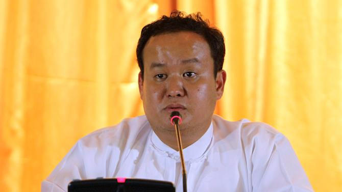 Air Bagan managing director U Htoo Htet Htwe speaks about a Christmas Day crash-landing of his airliner during a press conference at a hotel where the airline lodged passengers after evacuating them from the scene, in Yangon, Myanmar, Wednesday, Dec. 26, 2012. The aging Fokker 100 jet was carrying 71 people, including 48 foreigners, from Yangon via Mandalay to Heho airport, which is the gateway to the popular tourist destination Inle Lake. Carrier Air Bagan said it had found the plane's black box and was investigating the accident that killed two people. (AP Photo/Khin Maung Win)