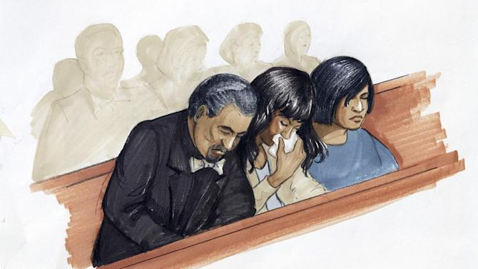 In this courtroom sketch, singer and actress Jennifer Hudson, center, along with her fiance David Otunga, and sister Julia Hudson react in court in Chicago, Friday, May 11, 2012, after a jury convicted William Balfour for the October 2008 killings of her mother, brother and nephew. Balfour faces a mandatory life prison sentence. (AP Photo/Tom Gianni)