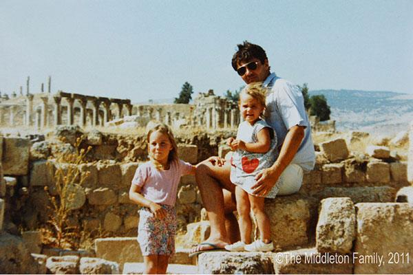 Kate, aged four, with her father and sister Pippa in Jerash, Jordan. Picture by: The Middleton Family / Splash News