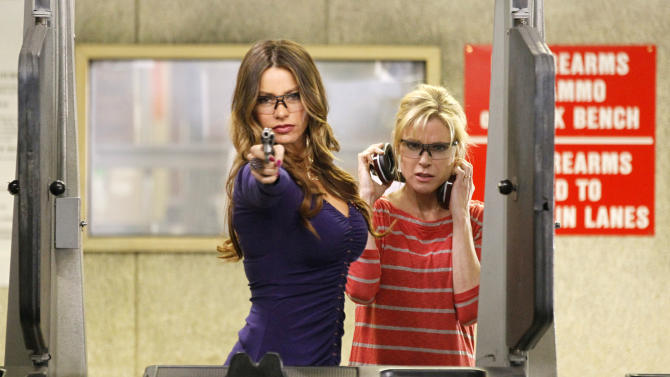 "In this image released by ABC, Sofia Vergara, left, and Julie Bowen are shown in a scene from the comedy series ""Modern Family.""   The program was nominated Thursday, Dec. 13, 2012 for a Golden Globe award for best comedy series. Vergara was also nominated for best supporting actress in a comedy series. The 70th annual Golden Globe Awards will be held on Jan. 13. (AP Photo/ABC, Peter Stone)"