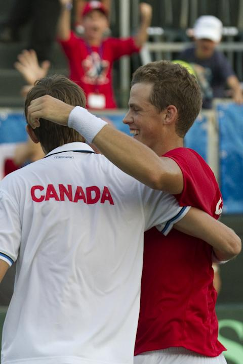Canadian tennis players Vasek Pospisil and Daniel Nestor (L) react after win the game against Israeli tennis team players Jonathan Erlich and Andy Ram during their Davis Cup world group doubles playof