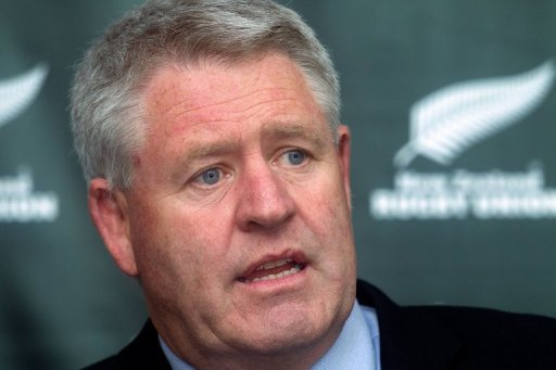 New Zealand Rugby Union chairman Steve Tew speaks during a press conference in Wellington on December 16, 2011