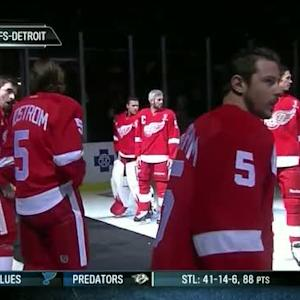 Red Wings players in Lidstrom jerseys