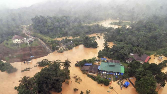 An aerial view of flooded streets of the National Park in Kuala Tahan, Pahang