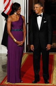 First lady Michelle Obama in a Doo.Ri gown at the White House State Dinner on Thursday. (Photo by Alex Wong/Getty Images)