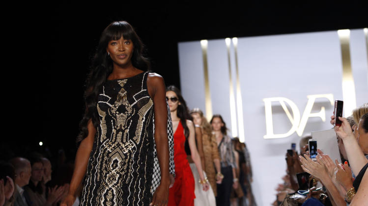 FILE - In this Sunday, Sept. 8, 2013, file photo, Model Naomi Campbell walks the runway in the Diane von Furstenburg Spring 2014 collection show during Fashion Week, in New York. Supermodel Iman has joined with Naomi Campbell and veteran modeling agent Bethann Hardison for an unusual effort they are calling Balance Diversity to bring more black models to the runway (AP Photo/Jason DeCrow)