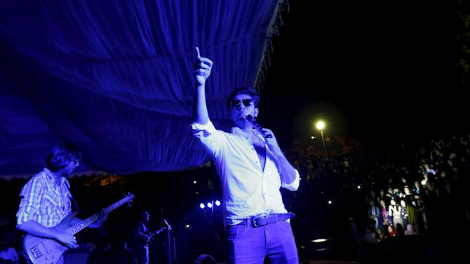 Pakistani pop star Farhan Saeed sings for college students at a spring festival in Islamabad