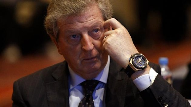 English national team coach Roy Hodgson reacts as he attends 10th UEFA Conference for European National Team Coaches held at hotel in Warsaw September 24, 2012 (Reuters)