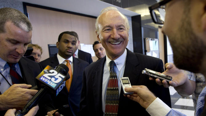 Kenneth Spillias, the lawyer for candidate Patrick Murphy, talks to the media, Friday, Nov. 9, 2012 in West Palm Beach, Fla. after a court hearing for Rep. Allen West. A request by West to impound ballots and voting machines was denied Friday, setting an uncertain path forward in his quest for re-election.  (AP Photo/J Pat Carter)