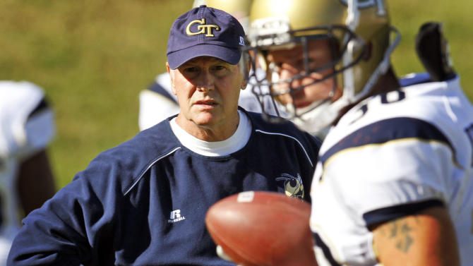 FILE - In this file photo taken Oct. 15, 2011, Georgia Tech defensive coordinator Al Groh watches warm ups before an NCAA college football game in Charlottesville, Va. Georgia Tech fired Groh. Head coach Paul Johnson announced the move Monday, Oct. 8, 2012, two days after the Yellow Jackets (2-4) lost 47-31 to Clemson. (AP Photo/Steve Helber, file)