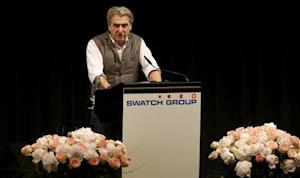 Swatch Group CEO Hayek Jr addresses the company's annual general meeting in Biel