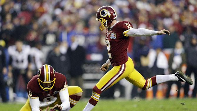 Washington Redskins kicker Kai Forbath makes the winning field goal as Sav Rocca holds during overtime of an NFL football game against the Baltimore Ravens in Landover, Md., Sunday, Dec. 9, 2012. The Redskins won 31-28. (AP Photo/Patrick Semansky)