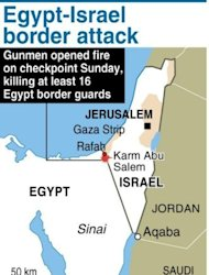 Map locating the area where gunmen killed 16 Egypt guards near the border with Israel on Sunday