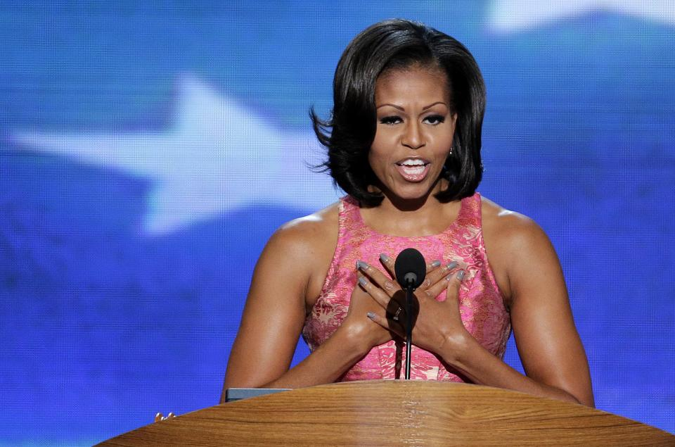 First Lady Michelle Obama addresses the Democratic National Convention in Charlotte, N.C., on Tuesday, Sept. 4, 2012. (AP Photo/J. Scott Applewhite)
