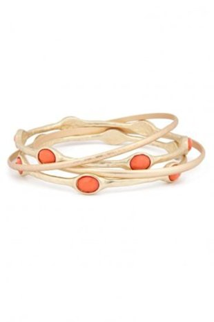 Gold and Coral Bangle