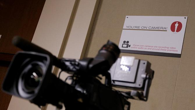 In this Feb. 23, 2012 photo, an Oscar.com camera sits in the pressroom in preparation for 84th Annual Academy Awards at the Kodak Theatre in Los Angeles. The Academy Awards will be held on Sunday.(AP Photo/Chris Carlson)