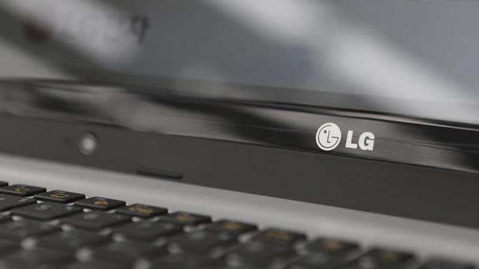 An LG Electronics' logo is pictured on a laptop computer displayed at a shop in central Seoul