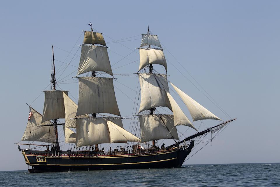 FILE - In this July 7, 2010 file photo, the tall ship HMS Bounty sails on Lake Erie off Cleveland. The U.S. Coast Guard has rescued 14 members of the crew forced to abandon the HMS Bounty caught in Hurricane Sandy off North Carolina. The Coast Guard is searching for two other crew members. (AP Photo/Mark Duncan, File)