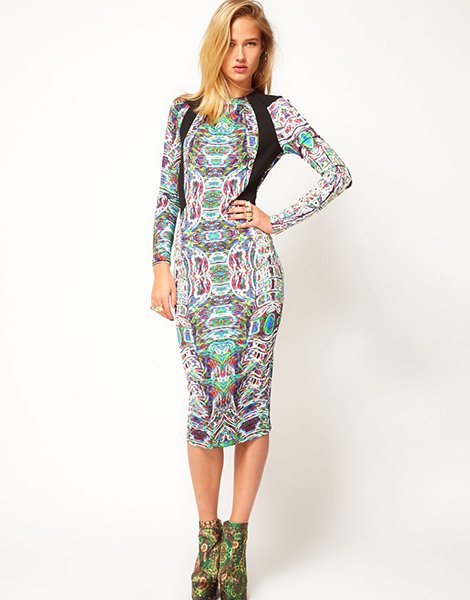 Revive printed dress with cut-out back, $114.34, asos.com