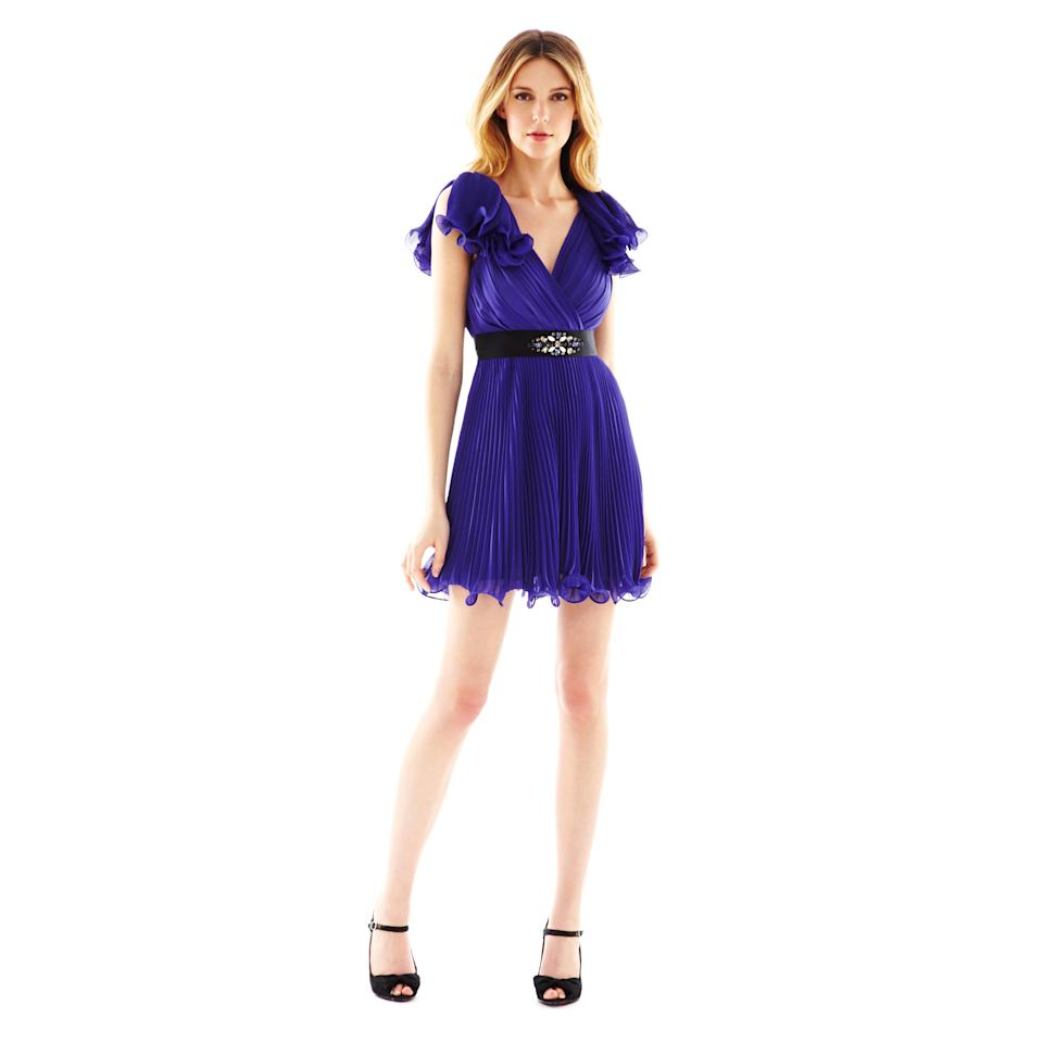 This product image released by J.C. Penney shows a belted purple chiffon dress from Pearl by Georgina Chapman of Marchesa.  Chapman, designer of red-carpet favorite Marchesa, is now offering a significantly less expensive version of her party looks at J.C. Penney under the Pearl label. (AP Photo/J.C. Penney)