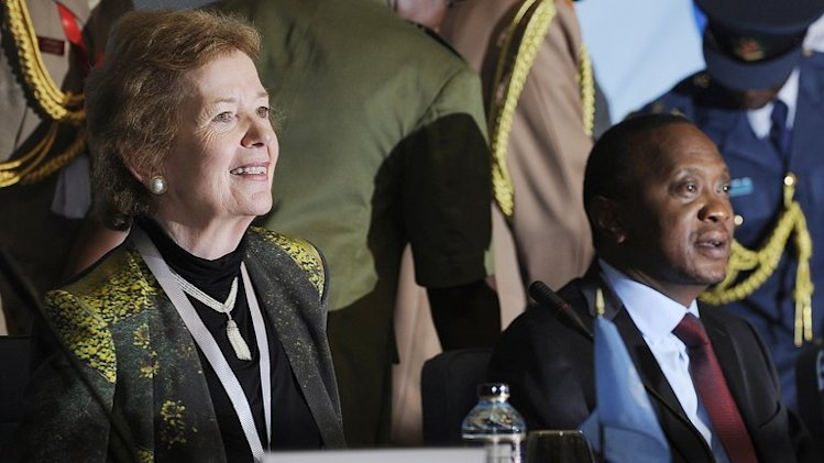 UN special envoy Mary Robinson (L) on July 31, 2013 in Nairobi