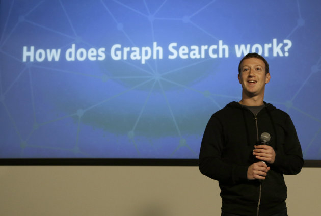 "<p>               Facebook CEO Mark Zuckerberg speaks at Facebook headquarters in Menlo Park, Calif., Tuesday, Jan. 15, 2013.  Zuckerberg introduced ""graph search"" Tuesday, a new service that lets users search their social connections for information about their friends' interests, and for photos and places.  (AP Photo/Jeff Chiu)"