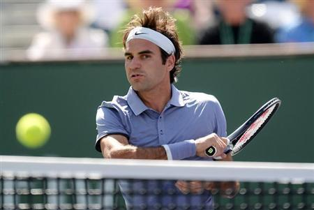 Mar 15, 2014; Indian Wells, CA, USA; Roger Federer (SUI) during his semifinal match against Alexandr Dolgopolov (UKR) at the BNP Paribas Open at Indian Wells Tennis Garden. Federer won 6-3, 6-1. Mandatory Credit: Jayne Kamin-Oncea-USA TODAY Sports